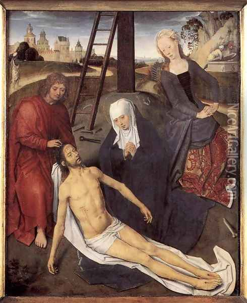 Triptych of Adriaan Reins (central panel) Oil Painting - Hans Memling