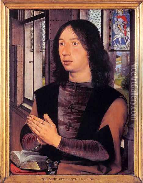 Diptych of Maarten Nieuwenhove (right panel) Oil Painting - Hans Memling