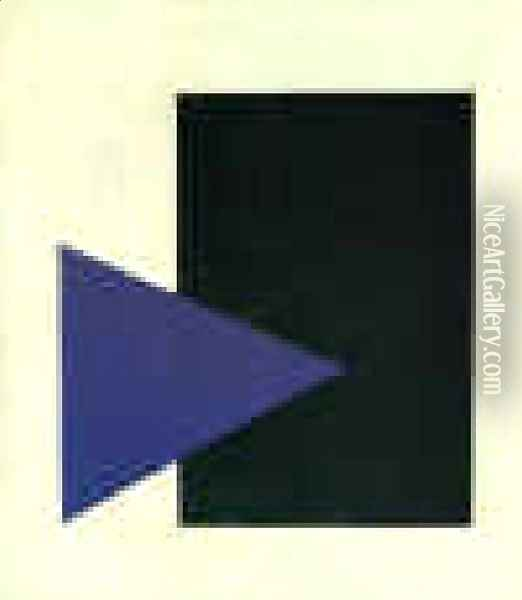 Suprematism (with Blue Triangle And Black Rectangle) Oil Painting - Kazimir Severinovich Malevich