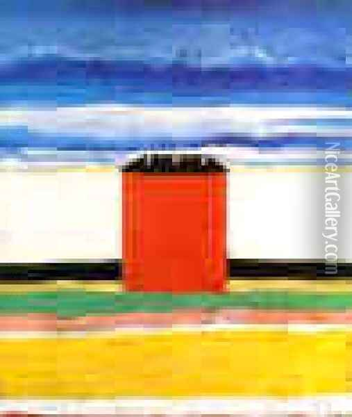 A Red House Oil Painting - Kazimir Severinovich Malevich