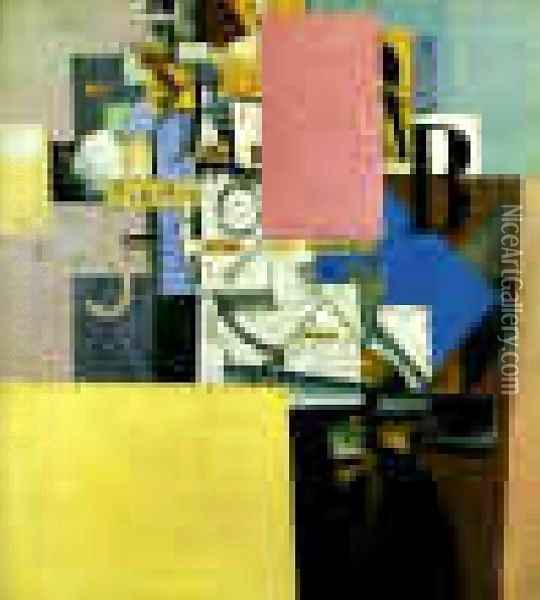 A Lady At The Poster Column Oil Painting - Kazimir Severinovich Malevich