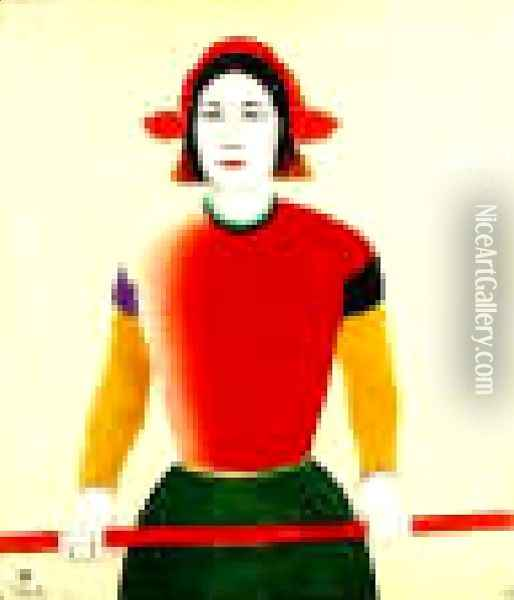 A Girl With A Red Pole Oil Painting - Kazimir Severinovich Malevich