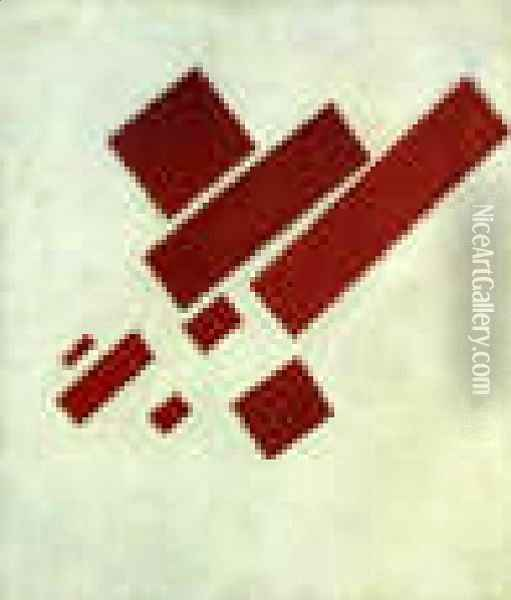 Suprematism With Eight Red Rectangles Oil Painting - Kazimir Severinovich Malevich