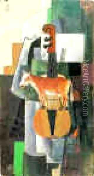 Cow And Violin Oil Painting - Kazimir Severinovich Malevich