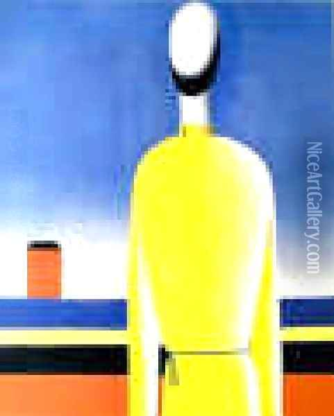 Complicated Premonition (Torso In A Yellow Shirt) Oil Painting - Kazimir Severinovich Malevich