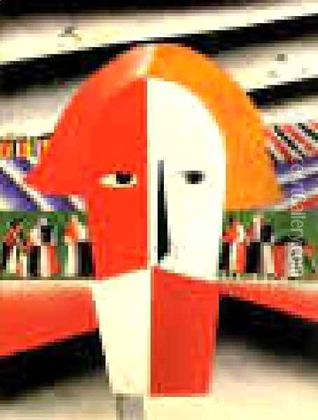 Head Of A Peasant Oil Painting - Kazimir Severinovich Malevich