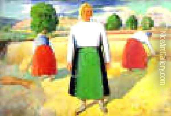 The Reapers Oil Painting - Kazimir Severinovich Malevich