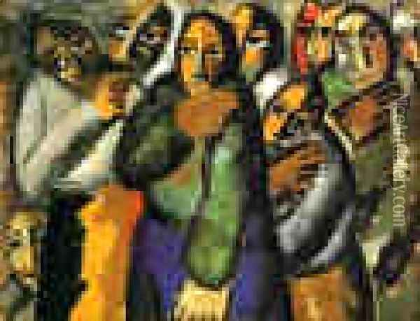 Peasant Women In Church Oil Painting - Kazimir Severinovich Malevich