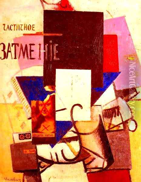 Composition with the Mona Lisa Oil Painting - Kazimir Severinovich Malevich