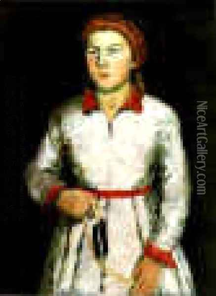 Portrait Of The Artists Daughter Una Kazimirovna Uriman Oil Painting - Kazimir Severinovich Malevich