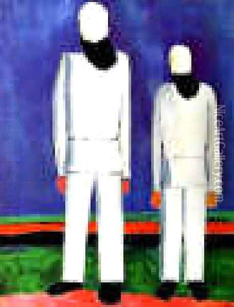 Two Male Figures Oil Painting - Kazimir Severinovich Malevich