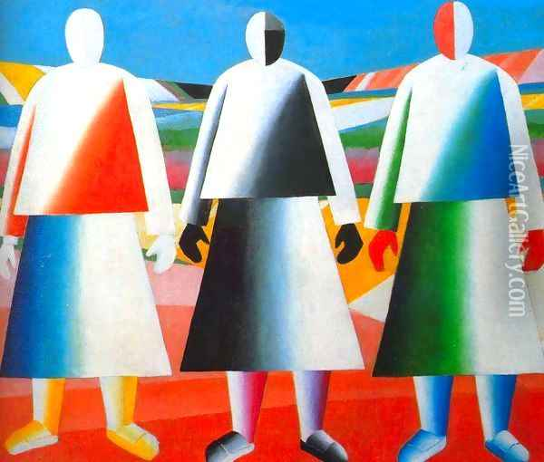 Girls in the field Oil Painting - Kazimir Severinovich Malevich