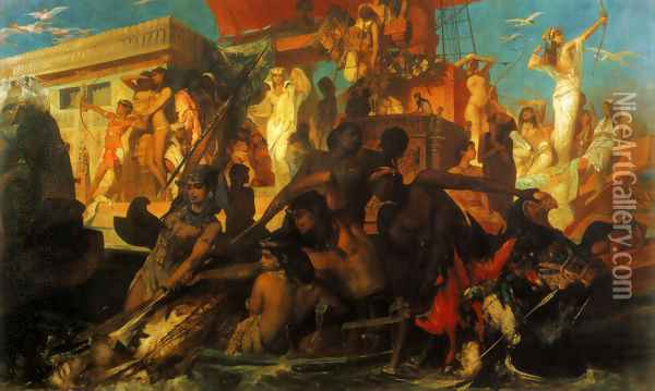 Die Niljagd der Kleopatra (The Nile Hunt of Cleopatra) Oil Painting - Hans Makart