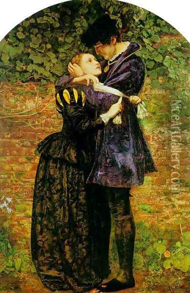 A Huguenot, on St. Bartholomew's Day Refusing to Shield Himself from Danger by Wearing the Roman Catholic Badge Oil Painting - Sir John Everett Millais