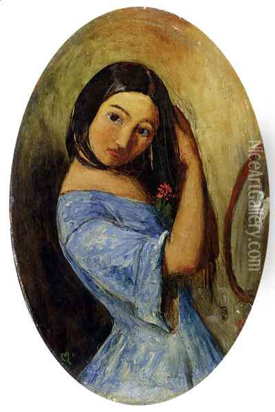 A Young Girl Combing Her Hair Oil Painting - Sir John Everett Millais
