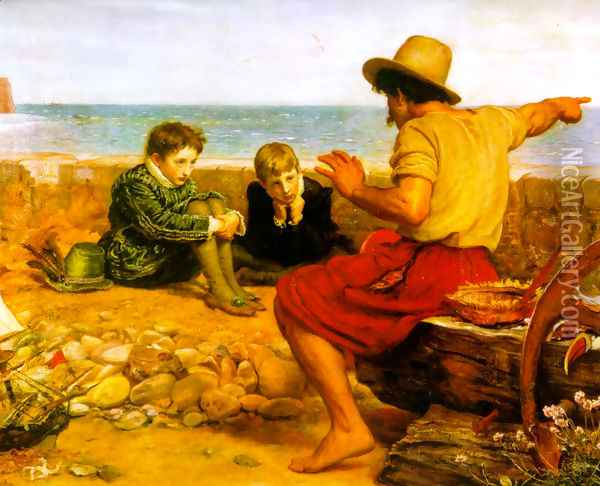 The Boyhood of Raleigh Oil Painting - Sir John Everett Millais