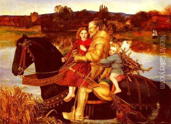 A Dream of the Past - Sir Isumbras at the Ford Oil Painting - Sir John Everett Millais