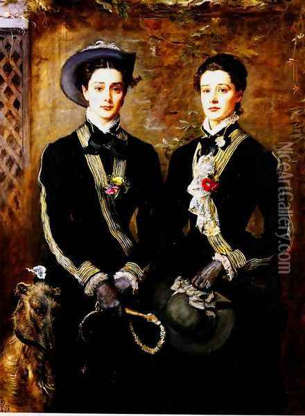 Twins (Grace and Kate Hoare) Oil Painting - Sir John Everett Millais