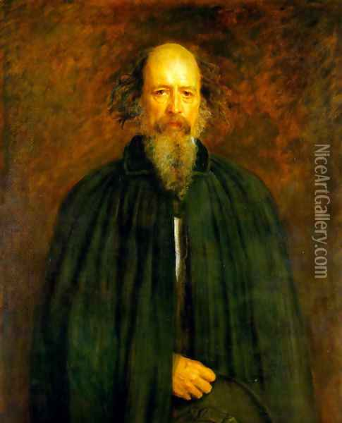 Portrait of Lord Alfred Tennyson Oil Painting - Sir John Everett Millais