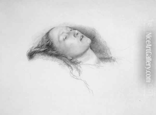 Elizabeth Siddal: study for Ophelia Oil Painting - Sir John Everett Millais