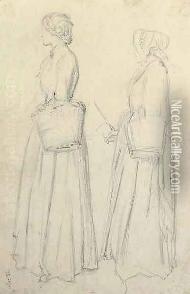 Studies of Emma Moreland for Tennyson's Edward Gray Oil Painting - Sir John Everett Millais