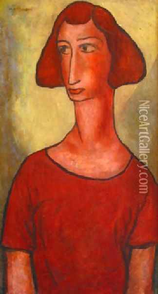 Red Girl Oil Painting - Alfred Henry Maurer