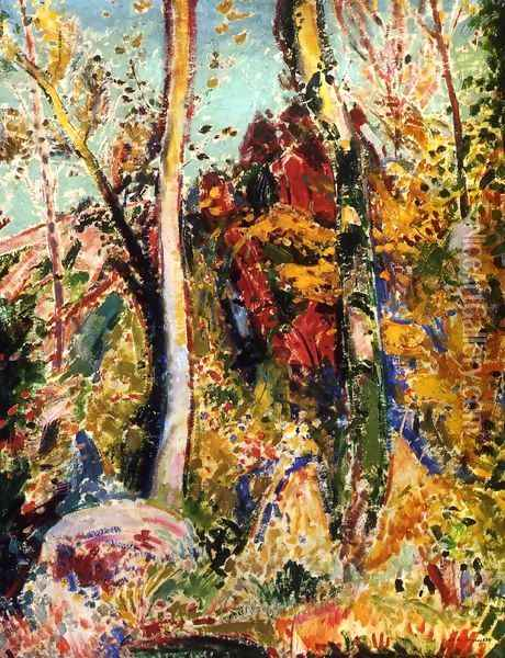 Landscape with Trees 1909 Oil Painting - Alfred Henry Maurer