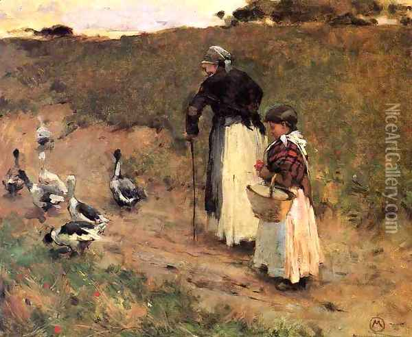 Old Woman with Child and Goose Oil Painting - Willard Leroy Metcalf