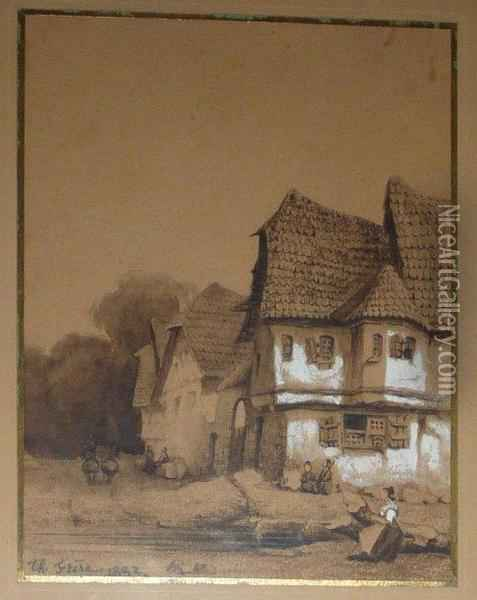 Village Oil Painting - Ch. Theodore, Bey Frere