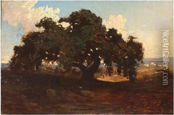 Charles , The Old Horse Chesnut Tree, Signed, Oil On Panel, 21.5 X 33 Cm.; 8 1/2 X 13 In Oil Painting - Ch. Theodore, Bey Frere