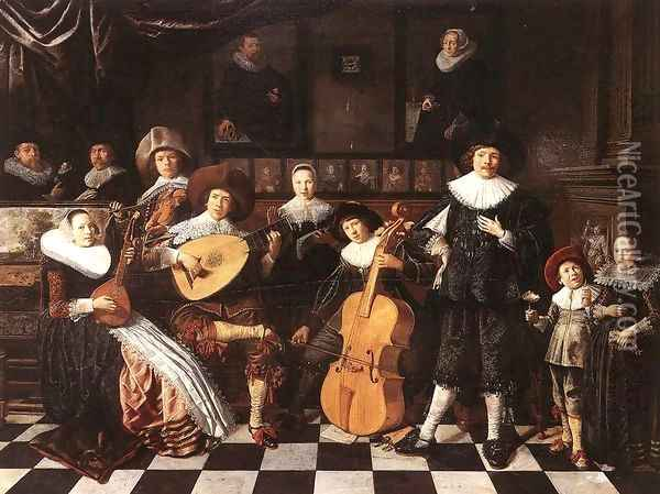 Family Making Music 1630s Oil Painting - Jan Miense Molenaer