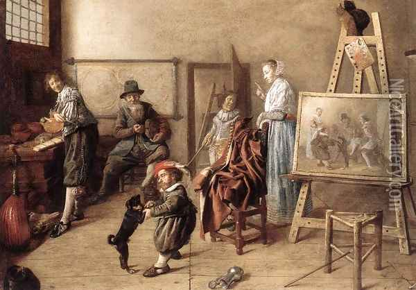 Painter in His Studio, Painting a Musical Company 1631 Oil Painting - Jan Miense Molenaer