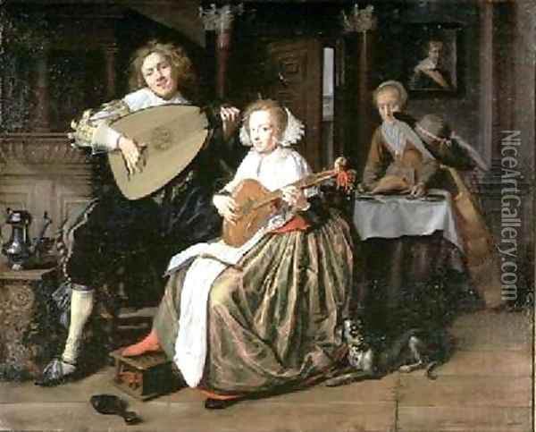 A Young Man Playing a Theorbo and a Young Woman Playing a Cittern Oil Painting - Jan Miense Molenaer