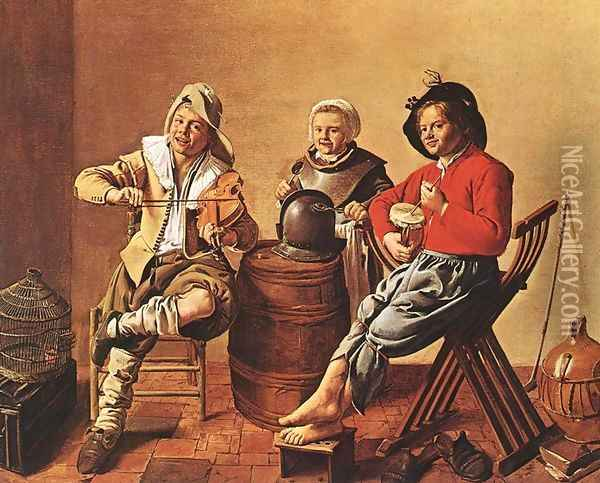Two Boys and a Girl Making Music 1629 Oil Painting - Jan Miense Molenaer