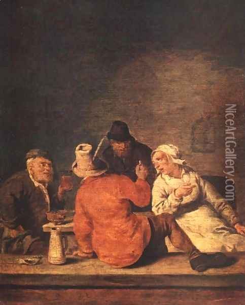 Peasants in the Tavern Oil Painting - Jan Miense Molenaer