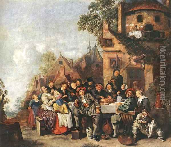 Tavern of the Crescent Moon Oil Painting - Jan Miense Molenaer