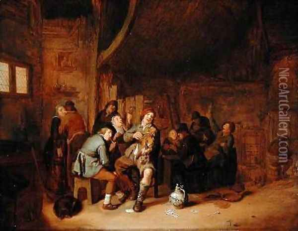 Figures smoking and playing Music in an Inn Oil Painting - Jan Miense Molenaer
