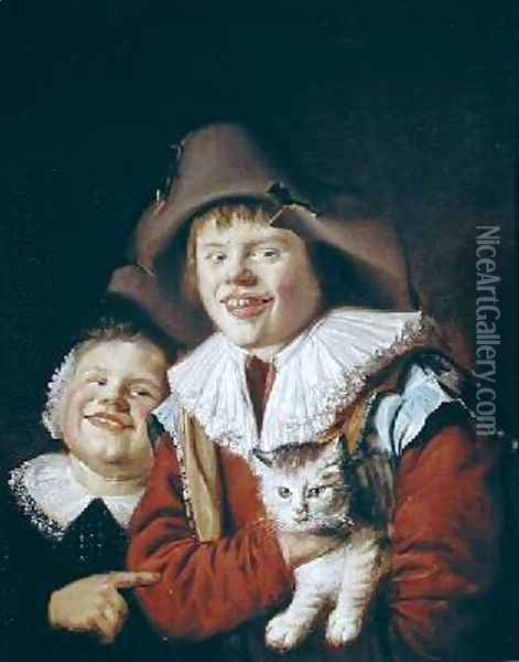 Children Playing with a Cat Oil Painting - Jan Miense Molenaer