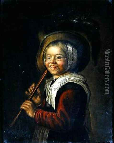 Girl with a recorder Oil Painting - Jan Miense Molenaer