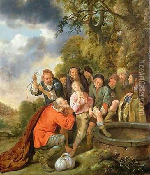 Joseph Being Cast into the Well by his Brothers Oil Painting - Jan Miense Molenaer