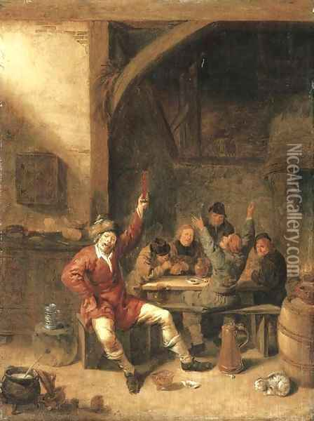 Peasants drinking, smoking and merrymaking in a tavern Oil Painting - Jan Miense Molenaer
