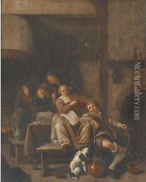 A tavern interior with a peasant woman playing the violin and other peasants singing Oil Painting - Jan Miense Molenaer