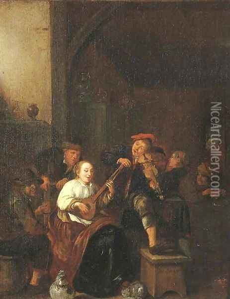 A tavern interior with a woman playing the lute, a man playing the fiddle, and boors drinking and smoking Oil Painting - Jan Miense Molenaer