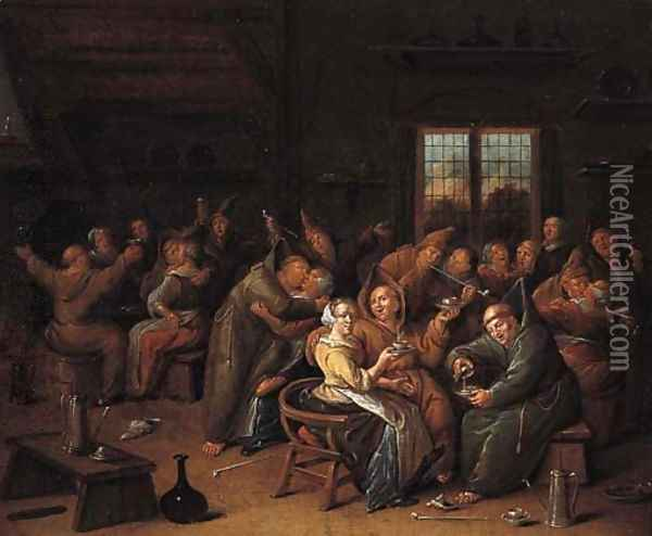 Monks merrymaking in a tavern Oil Painting - Jan Miense Molenaer