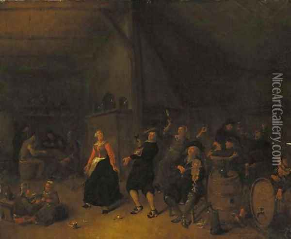Peasants dancing in an inn Oil Painting - Jan Miense Molenaer
