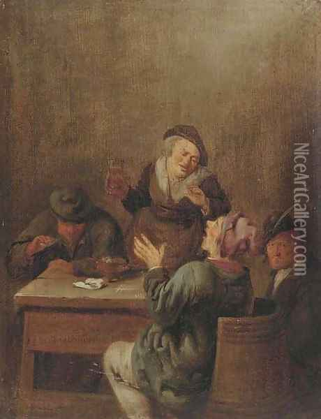 Peasants smoking and drinking by a table Oil Painting - Jan Miense Molenaer