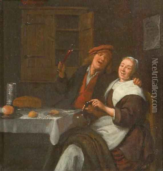 A couple drinking in an interior Oil Painting - Jan Miense Molenaer