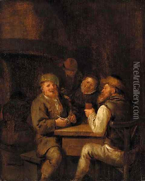 An interior with peasants drinking and smoking Oil Painting - Jan Miense Molenaer