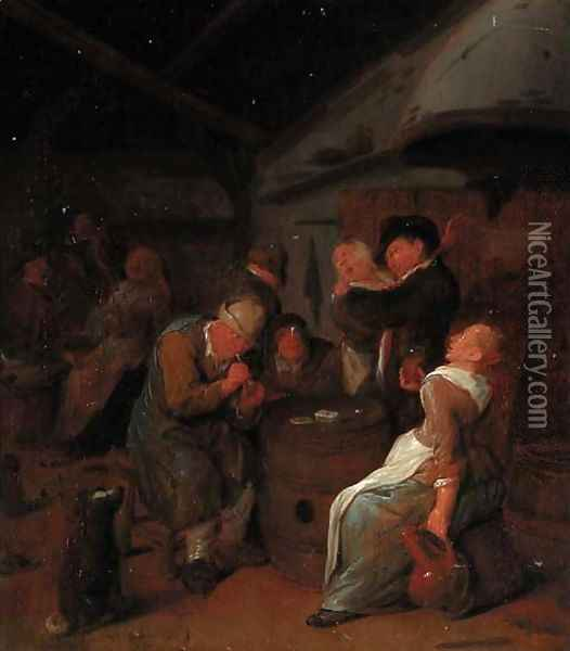 Peasants carousing in a tavern Oil Painting - Jan Miense Molenaer