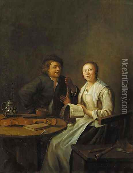 A couple making music in an interior Oil Painting - Jan Miense Molenaer